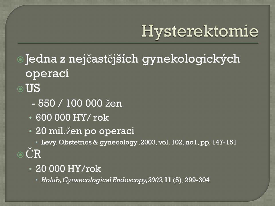  Jedna z nej č ast ě jších gynekologických operací  US - 550 / 100 000 ž en 600 000 HY/ rok 20 mil. ž en po operaci  Levy, Obstetrics & gynecology,