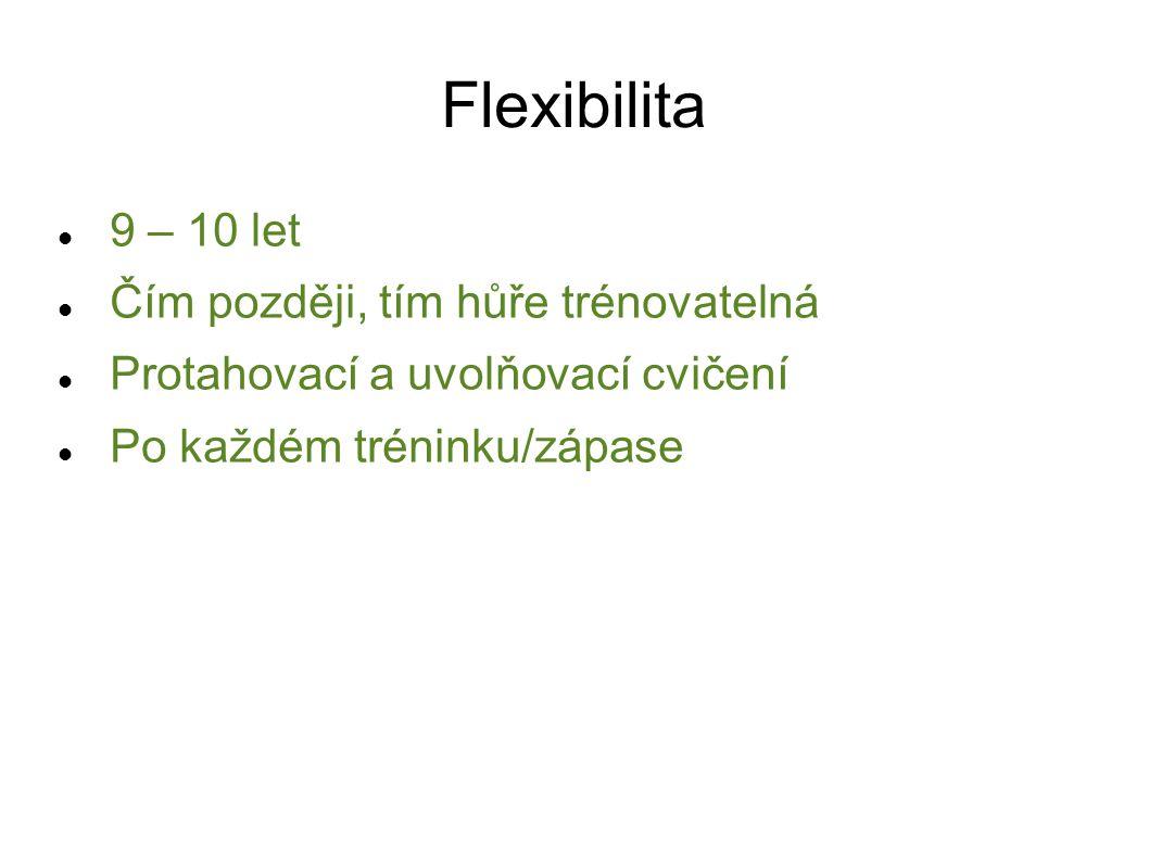 Flexibilita 9 – 10 let Čím později, tím hůře trénovatelná Protahovací a uvolňovací cvičení Po každém tréninku/zápase