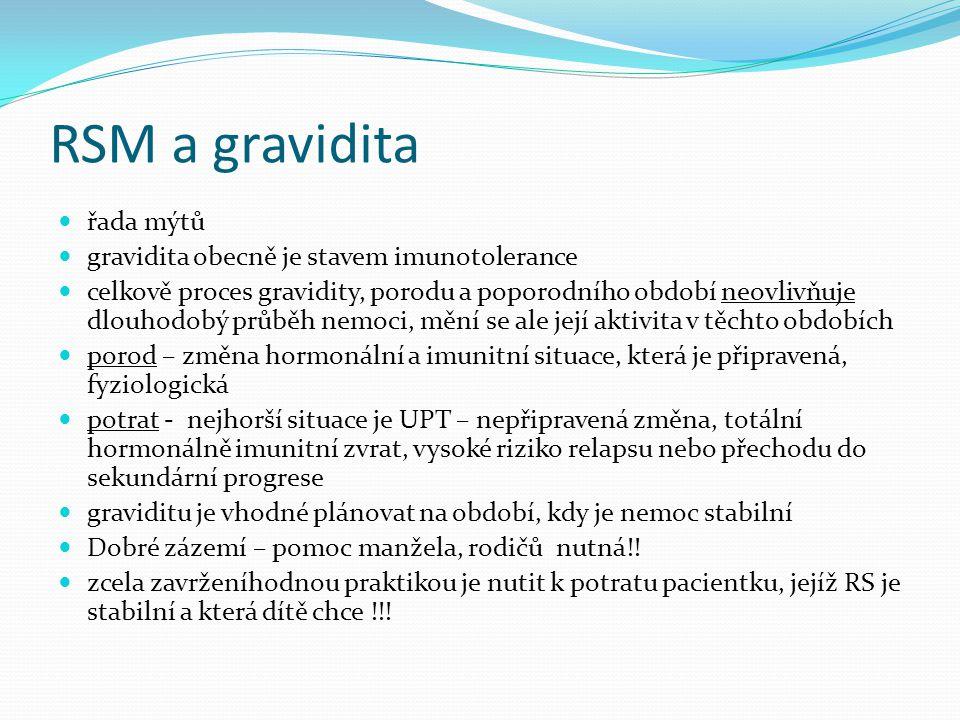 RSM a gravidita řada mýtů gravidita obecně je stavem imunotolerance celkově proces gravidity, porodu a poporodního období neovlivňuje dlouhodobý průbě