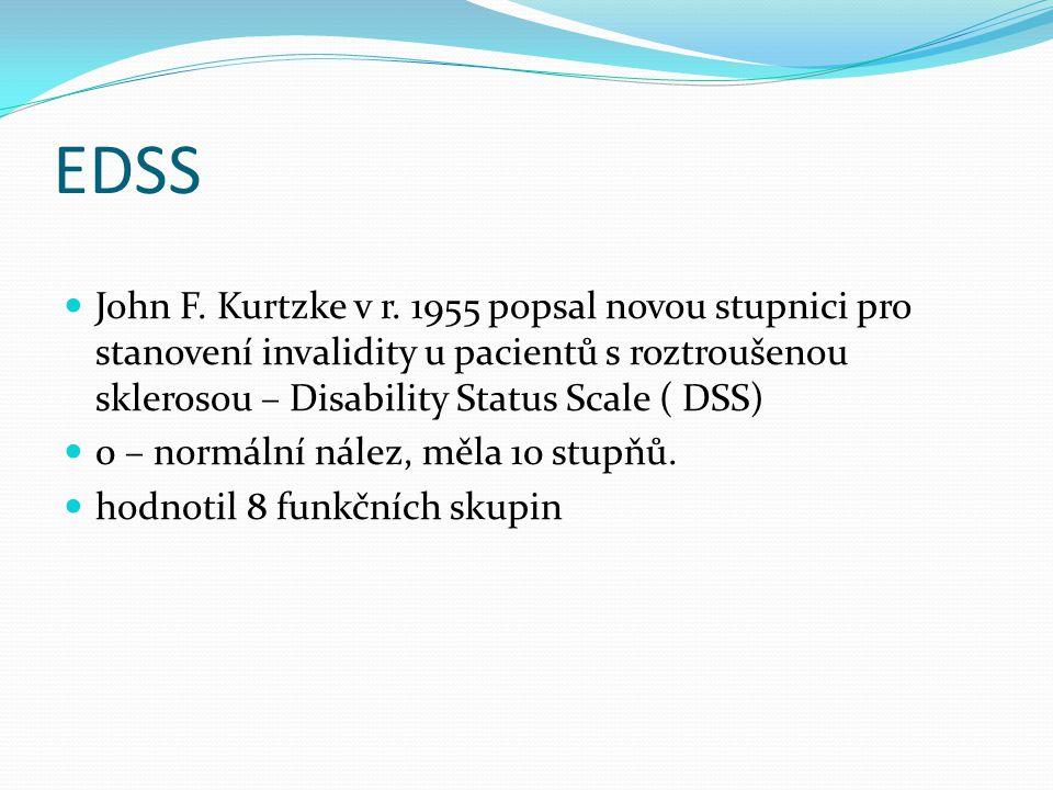 John F. Kurtzke v r. 1955 popsal novou stupnici pro stanovení invalidity u pacientů s roztroušenou sklerosou – Disability Status Scale ( DSS) 0 – norm
