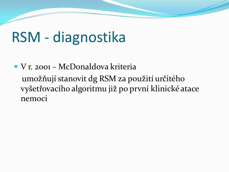 RSM - diagnostika V r. 2001 – McDonaldova kriteria umožňují stanovit dg RSM za použití určitého vyšetřovacího algoritmu již po první klinické atace ne