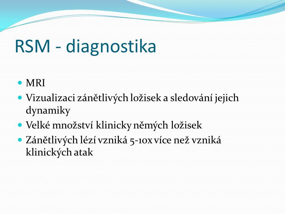 RSM - diagnostika MRI Vizualizaci zánětlivých ložisek a sledování jejich dynamiky Velké množství klinicky němých ložisek Zánětlivých lézí vzniká 5-10x