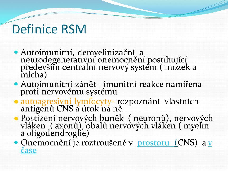 Diagnostická kritéria RS 1 ataka 2 a více objektivních klinických lézí Disseminace v čase: - MRI - druhá klinická ataka 1 ataka 1 objektivní klinická léze (CIS) Disseminace v prostoru: - MRI - 2 a více MRI lézí odpovídajících RS + likvor + Disseminace v čase: - MRI - druhá klinická ataka Klinický obraz Nutná doplňující vyšetření