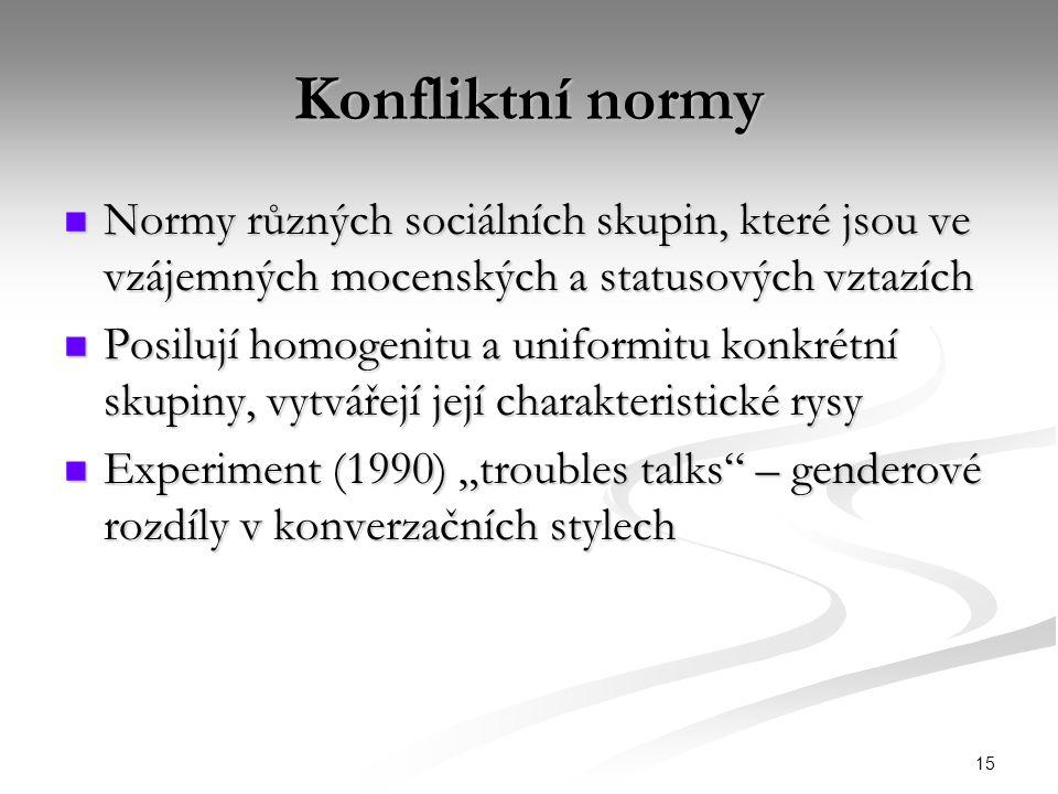 15 Konfliktní normy Normy různých sociálních skupin, které jsou ve vzájemných mocenských a statusových vztazích Normy různých sociálních skupin, které
