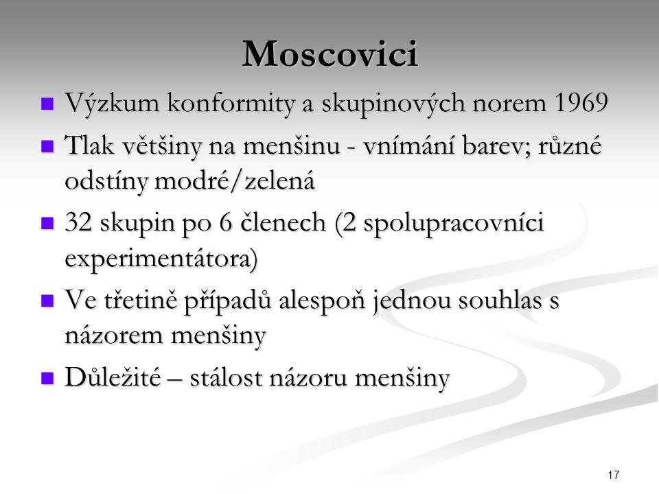17 Moscovici Výzkum konformity a skupinových norem 1969 Výzkum konformity a skupinových norem 1969 Tlak většiny na menšinu - vnímání barev; různé odstíny modré/zelená Tlak většiny na menšinu - vnímání barev; různé odstíny modré/zelená 32 skupin po 6 členech (2 spolupracovníci experimentátora) 32 skupin po 6 členech (2 spolupracovníci experimentátora) Ve třetině případů alespoň jednou souhlas s názorem menšiny Ve třetině případů alespoň jednou souhlas s názorem menšiny Důležité – stálost názoru menšiny Důležité – stálost názoru menšiny
