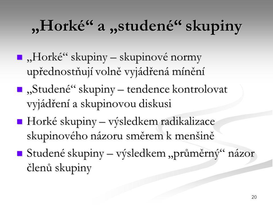 """20 """"Horké"""" a """"studené"""" skupiny """"Horké"""" skupiny – skupinové normy upřednostňují volně vyjádřená mínění """"Horké"""" skupiny – skupinové normy upřednostňují"""