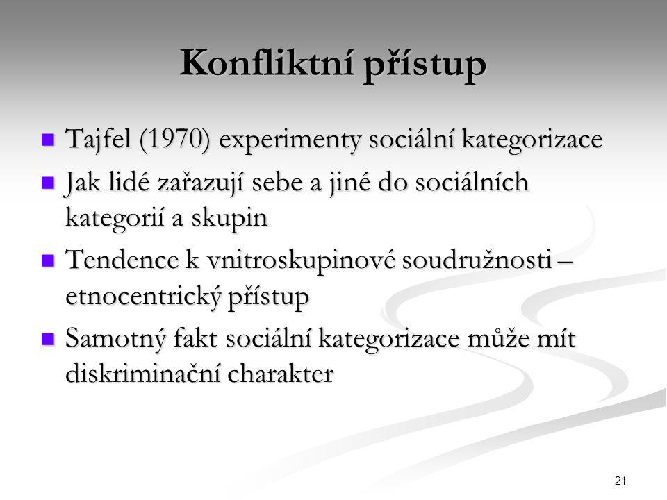 21 Konfliktní přístup Tajfel (1970) experimenty sociální kategorizace Tajfel (1970) experimenty sociální kategorizace Jak lidé zařazují sebe a jiné do