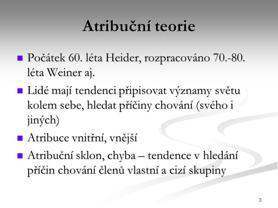 3 Atribuční teorie Počátek 60. léta Heider, rozpracováno 70.-80. léta Weiner aj. Počátek 60. léta Heider, rozpracováno 70.-80. léta Weiner aj. Lidé ma