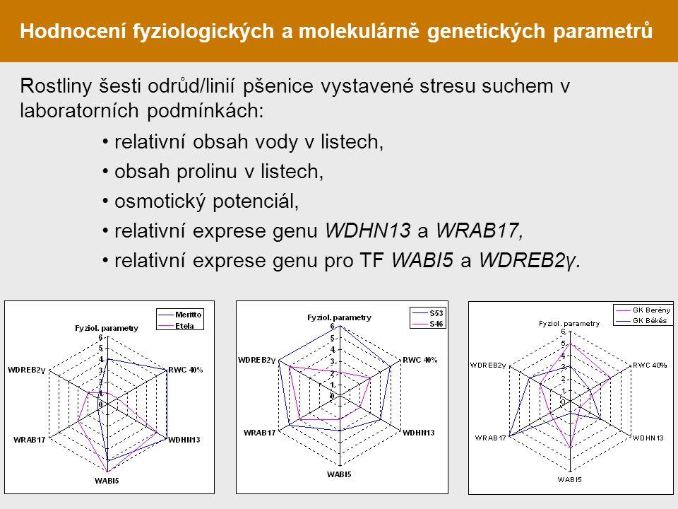 Hodnocení fyziologických a molekulárně genetických parametrů relativní obsah vody v listech, obsah prolinu v listech, osmotický potenciál, relativní e