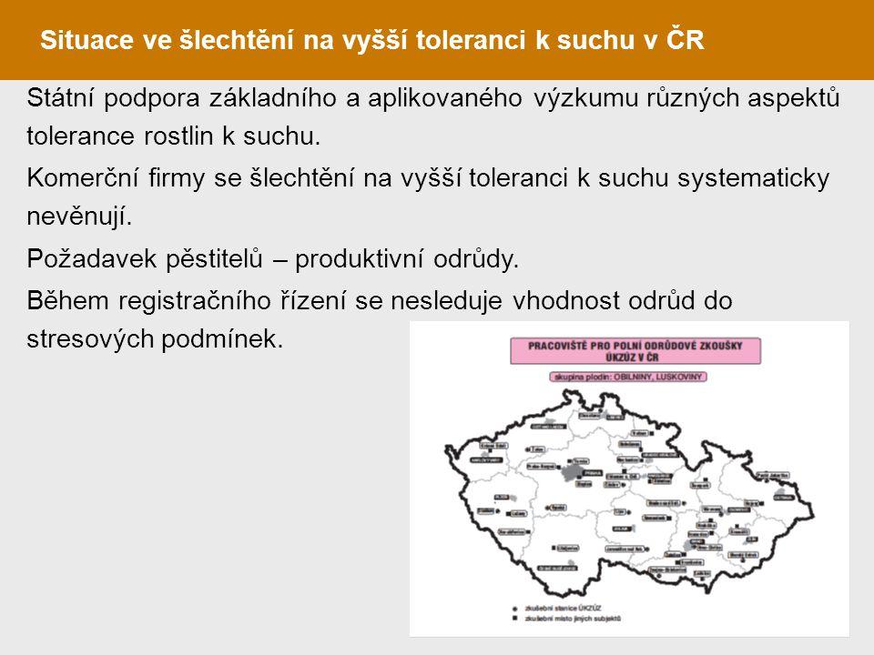 Situace ve šlechtění na vyšší toleranci k suchu v ČR Státní podpora základního a aplikovaného výzkumu různých aspektů tolerance rostlin k suchu. Komer