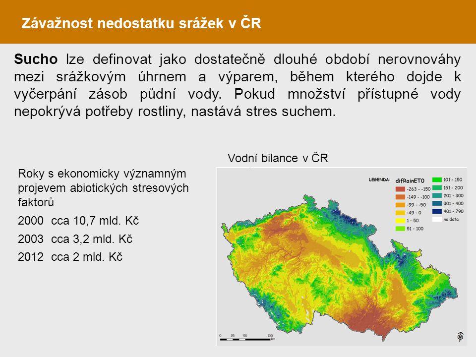 Sucho lze definovat jako dostatečně dlouhé období nerovnováhy mezi srážkovým úhrnem a výparem, během kterého dojde k vyčerpání zásob půdní vody. Pokud