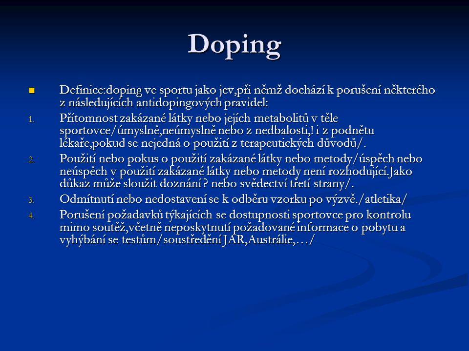 Doping Definice:doping ve sportu jako jev,při němž dochází k porušení některého z následujících antidopingových pravidel: Definice:doping ve sportu ja