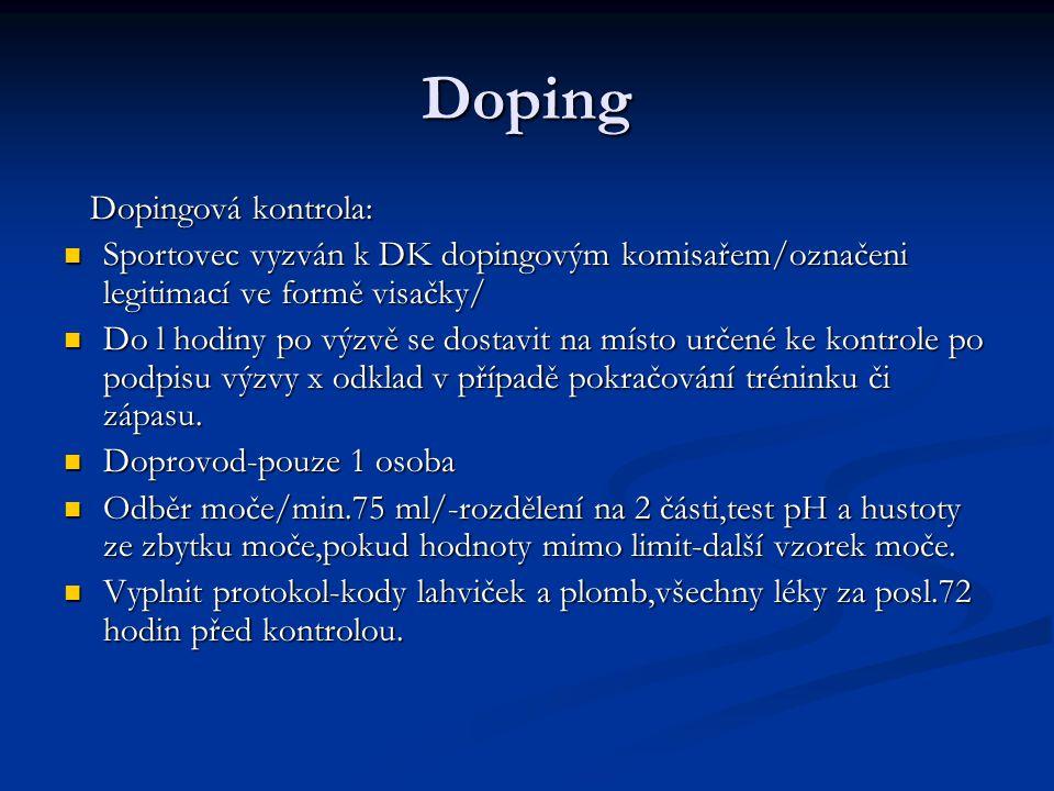 Doping Dopingová kontrola: Dopingová kontrola: Sportovec vyzván k DK dopingovým komisařem/označeni legitimací ve formě visačky/ Sportovec vyzván k DK