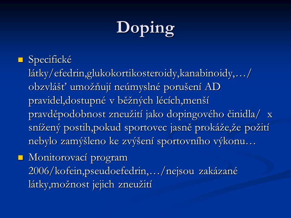 Doping Specifické látky/efedrin,glukokortikosteroidy,kanabinoidy,…/ obzvlášť umožňují neúmyslné porušení AD pravidel,dostupné v běžných lécích,menší p