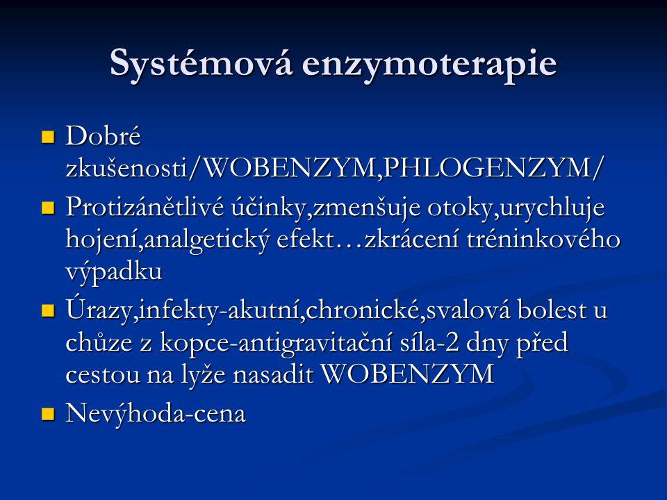 Systémová enzymoterapie Dobré zkušenosti/WOBENZYM,PHLOGENZYM/ Dobré zkušenosti/WOBENZYM,PHLOGENZYM/ Protizánětlivé účinky,zmenšuje otoky,urychluje hoj