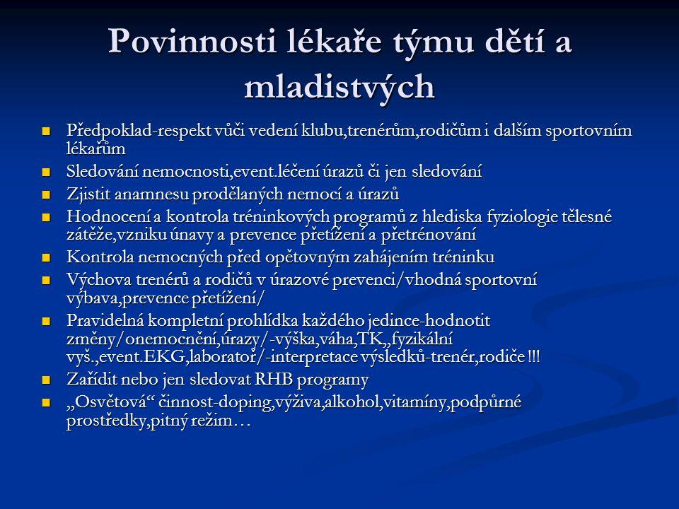 ČINNOST LÉKAŘE NA SPORTOVIŠTI CÍL-CHRÁNIT ZDRAVÍ SPORTOVCE !!.
