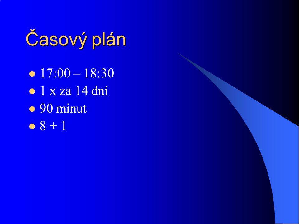 Časový plán 17:00 – 18:30 1 x za 14 dní 90 minut 8 + 1