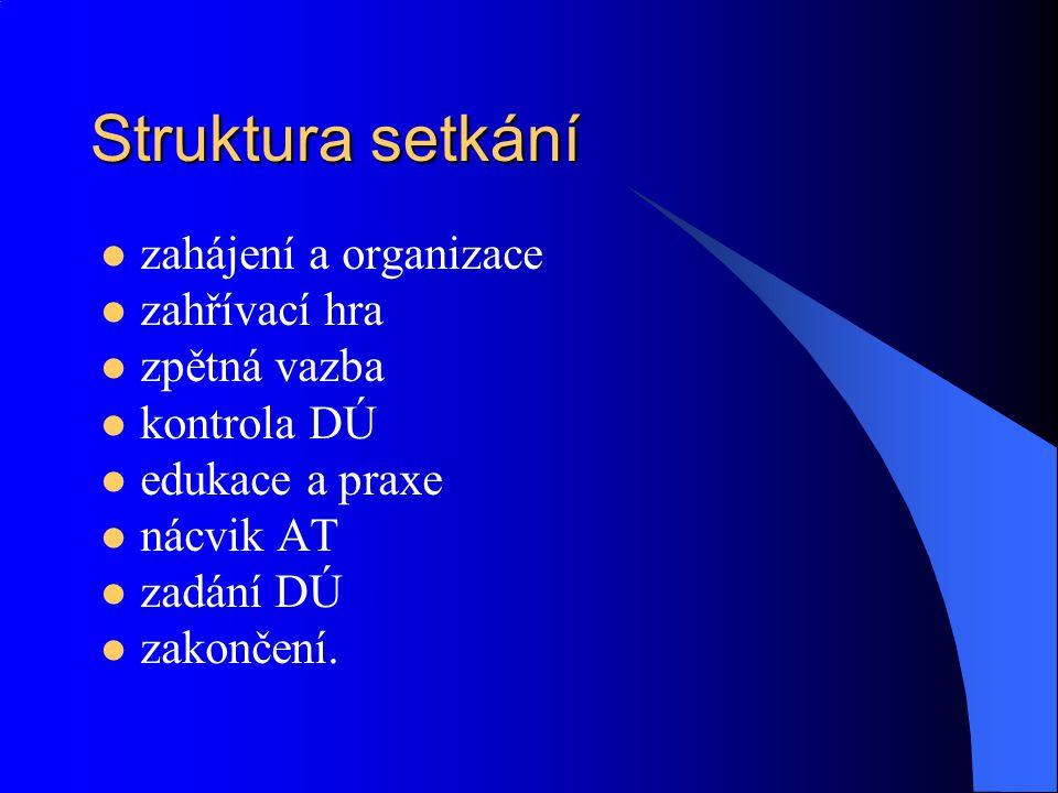 Struktura setkání zahájení a organizace zahřívací hra zpětná vazba kontrola DÚ edukace a praxe nácvik AT zadání DÚ zakončení.