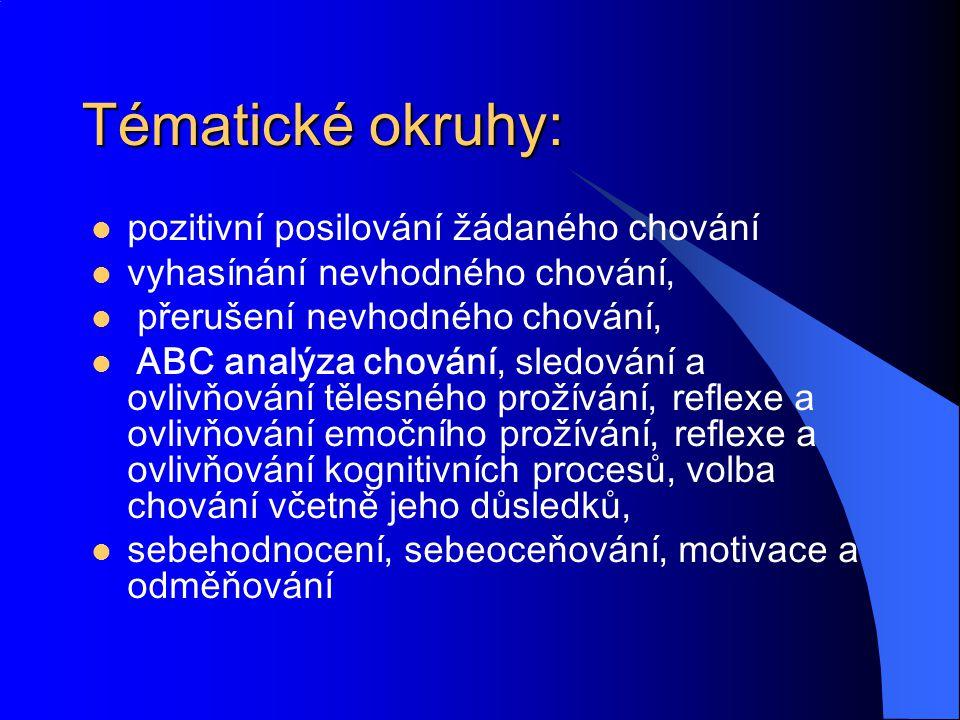 Tématické okruhy: pozitivní posilování žádaného chování vyhasínání nevhodného chování, přerušení nevhodného chování, ABC analýza chování, sledování a