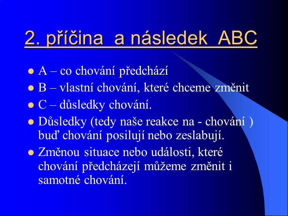 2. příčina a následek ABC A – co chování předchází B – vlastní chování, které chceme změnit C – důsledky chování. Důsledky (tedy naše reakce na - chov
