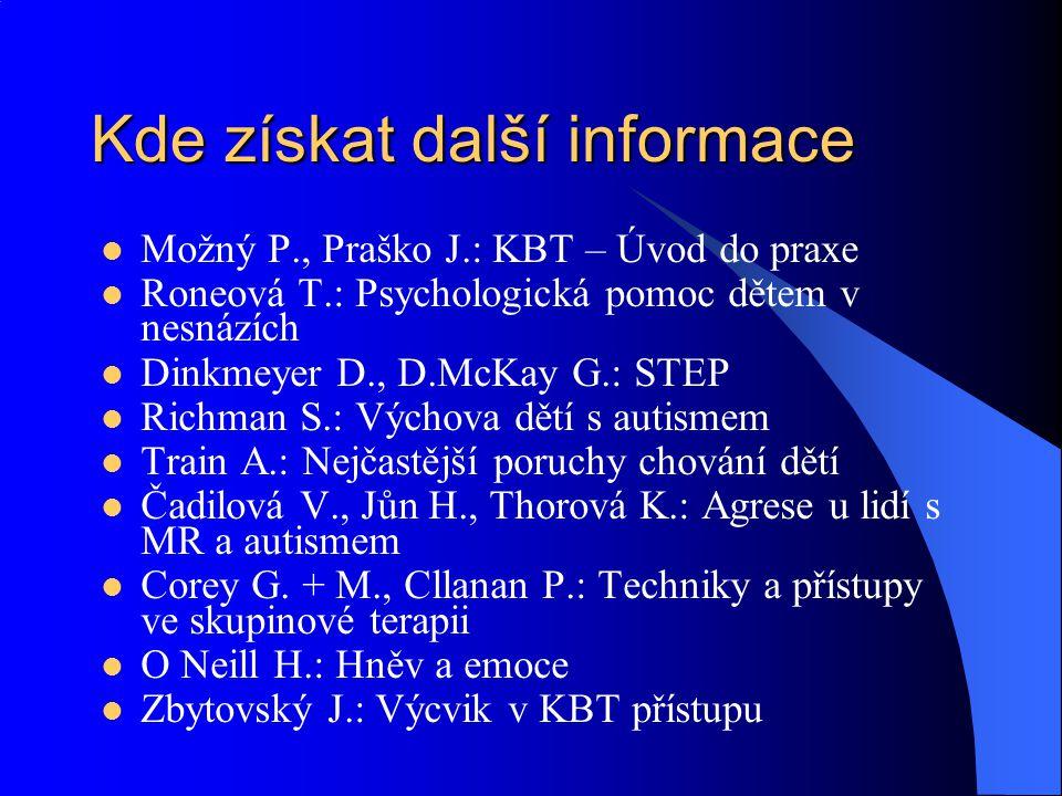 Kde získat další informace Možný P., Praško J.: KBT – Úvod do praxe Roneová T.: Psychologická pomoc dětem v nesnázích Dinkmeyer D., D.McKay G.: STEP R