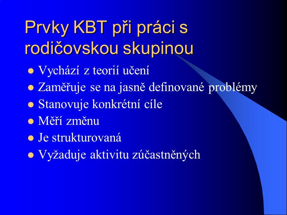 Prvky KBT při práci s rodičovskou skupinou Vychází z teorií učení Zaměřuje se na jasně definované problémy Stanovuje konkrétní cíle Měří změnu Je stru