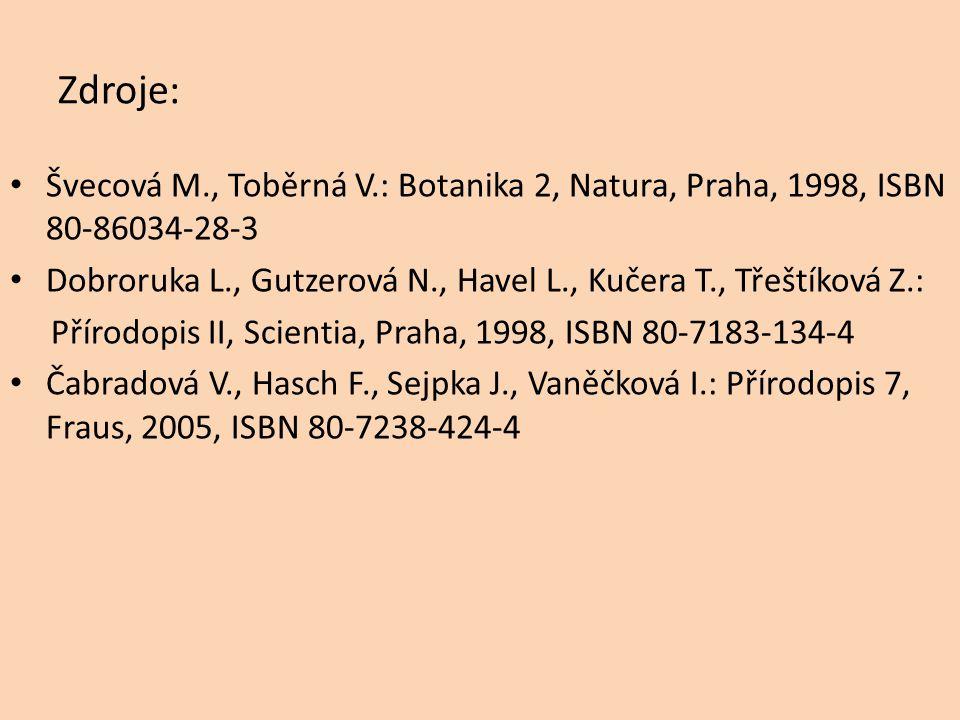 Zdroje: Švecová M., Toběrná V.: Botanika 2, Natura, Praha, 1998, ISBN 80-86034-28-3 Dobroruka L., Gutzerová N., Havel L., Kučera T., Třeštíková Z.: Přírodopis II, Scientia, Praha, 1998, ISBN 80-7183-134-4 Čabradová V., Hasch F., Sejpka J., Vaněčková I.: Přírodopis 7, Fraus, 2005, ISBN 80-7238-424-4