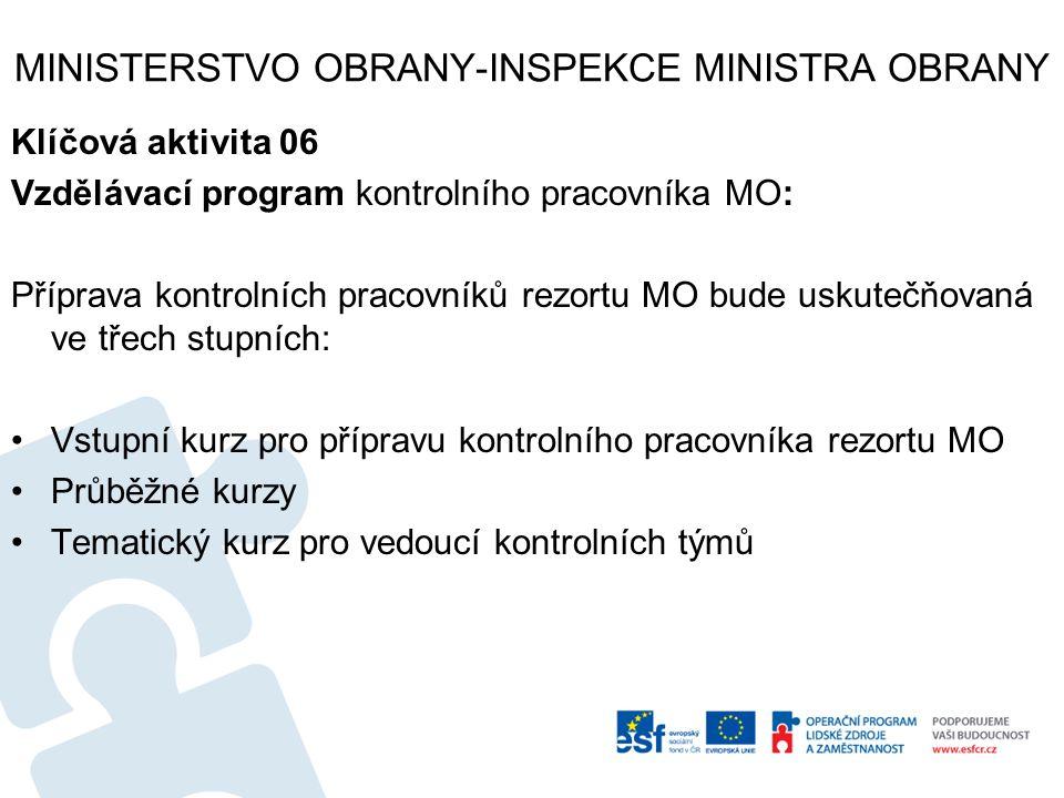 MINISTERSTVO OBRANY-INSPEKCE MINISTRA OBRANY Klíčová aktivita 06 Vzdělávací program kontrolního pracovníka MO: Příprava kontrolních pracovníků rezortu