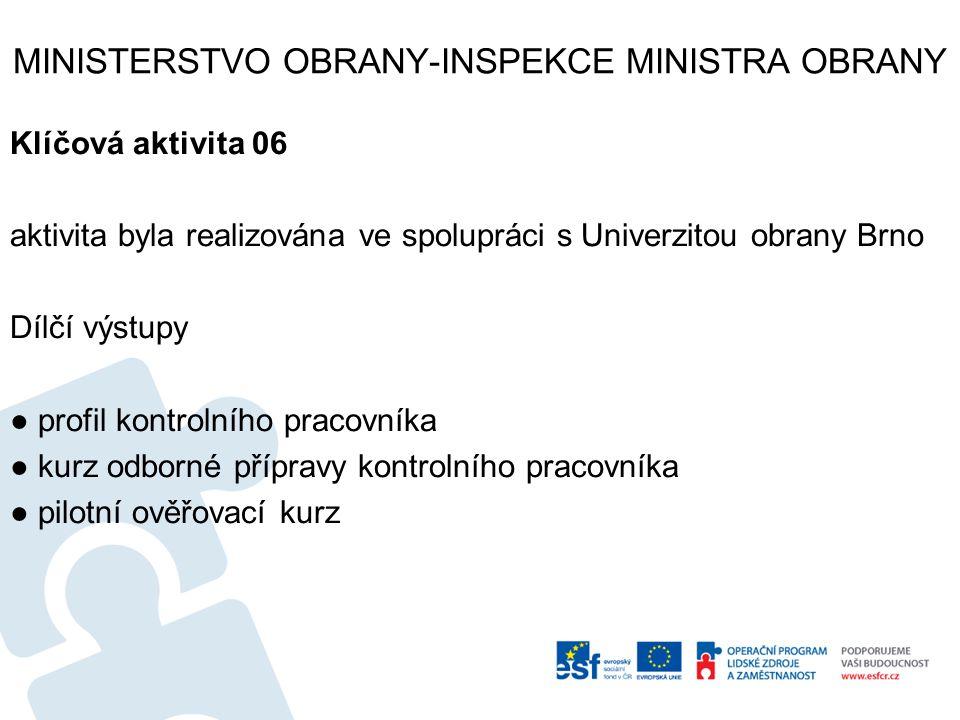 MINISTERSTVO OBRANY-INSPEKCE MINISTRA OBRANY Klíčová aktivita 06 aktivita byla realizována ve spolupráci s Univerzitou obrany Brno Dílčí výstupy ● pro