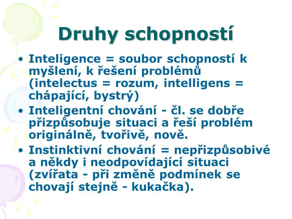 Druhy schopností Inteligence = soubor schopností k myšlení, k řešení problémů (intelectus = rozum, intelligens = chápající, bystrý) Inteligentní chování - čl.