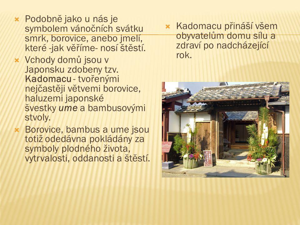  Ke kadomacu patří také posvátný šintoistický pás šimenawa.