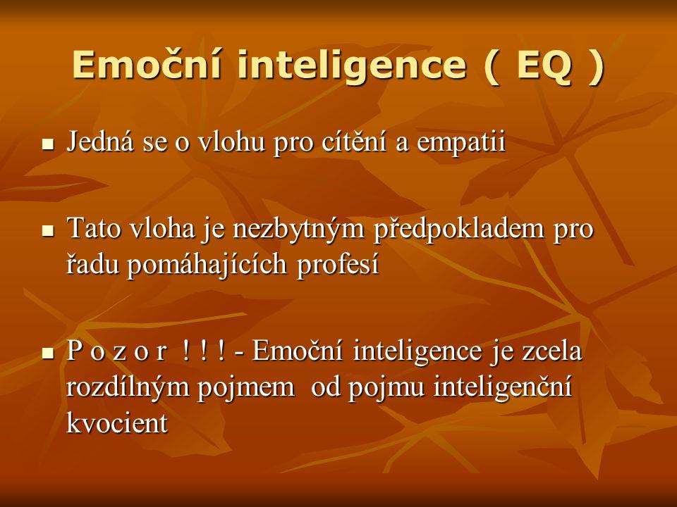 Osobnostní předpoklady Emoční inteligence úzce souvisí s osobnostními předpoklady každého jedince Emoční inteligence úzce souvisí s osobnostními předpoklady každého jedince V současné době zaměstnavatelé, školy a jiné instituce kladou důraz především na zralou osobnost, která se vyznačuje touto charakteristikou: V současné době zaměstnavatelé, školy a jiné instituce kladou důraz především na zralou osobnost, která se vyznačuje touto charakteristikou: Vyrovnanost Vyrovnanost Adekvátnost chování Adekvátnost chování Zodpovědnost k sobě samému a ostatním Zodpovědnost k sobě samému a ostatním Vytrvalost Vytrvalost Respektování společenských norem Respektování společenských norem Budování vlastní identity a hodnot Budování vlastní identity a hodnot