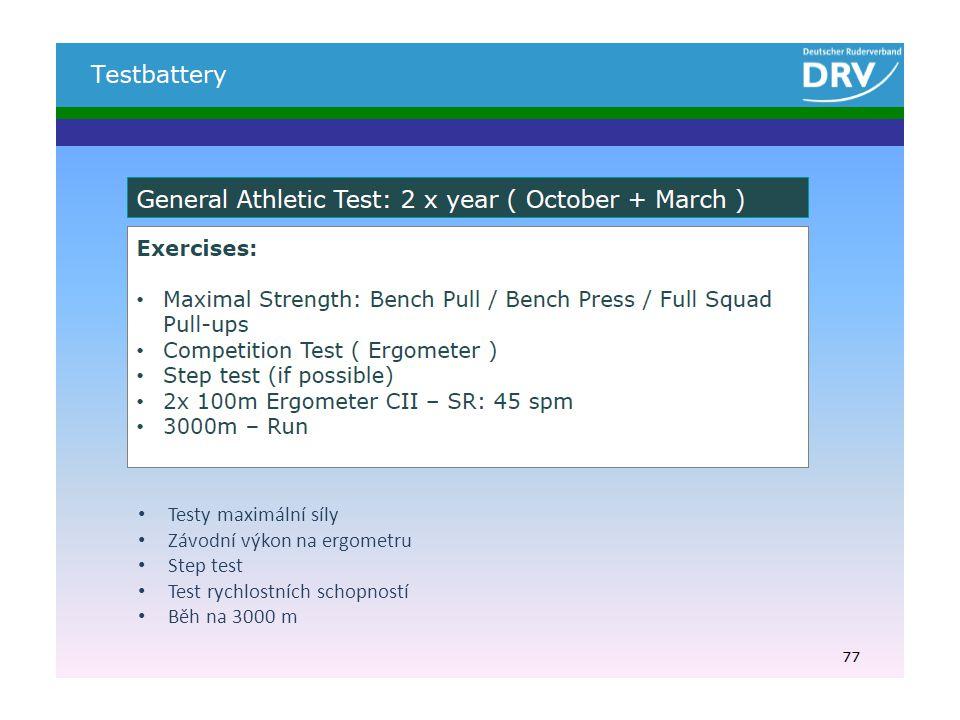 Testy maximální síly Závodní výkon na ergometru Step test Test rychlostních schopností Běh na 3000 m