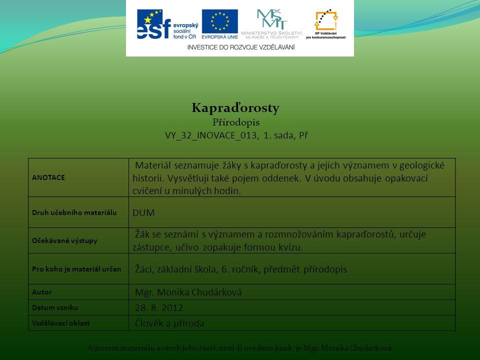 Autorem materiálu a všech jeho částí, není-li uvedeno jinak, je Mgr. Monika Chudárková ANOTACE Materiál seznamuje žáky s kapraďorosty a jejich význame