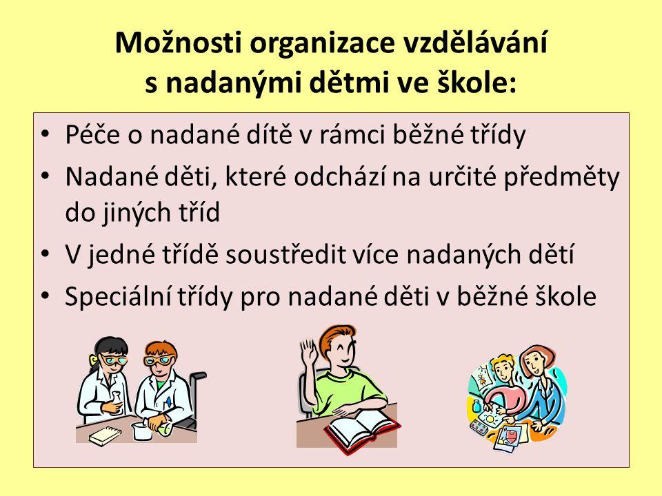 Možnosti organizace vzdělávání s nadanými dětmi ve škole: Péče o nadané dítě v rámci běžné třídy Nadané děti, které odchází na určité předměty do jiný
