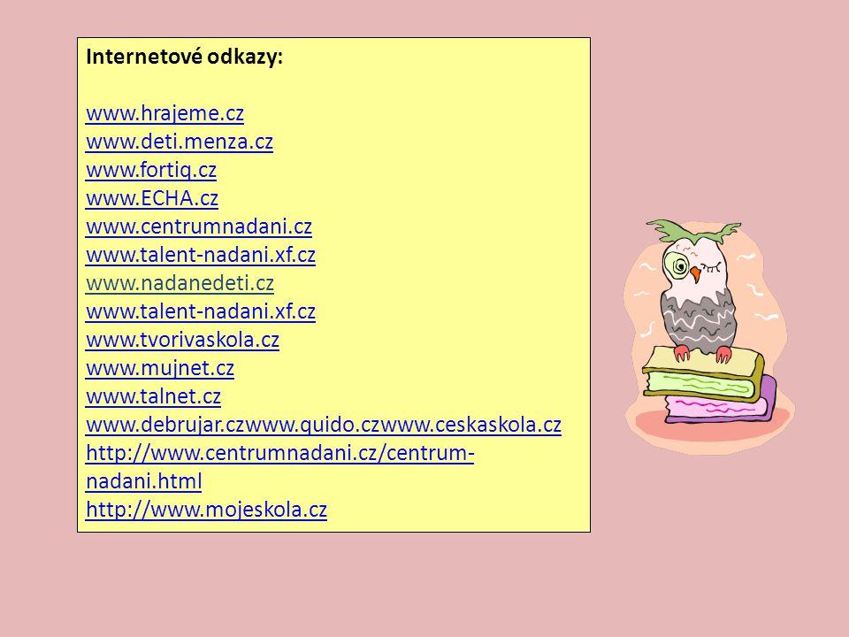 Internetové odkazy: www.hrajeme.cz www.deti.menza.cz www.fortiq.cz www.ECHA.cz www.centrumnadani.cz www.talent-nadani.xf.cz www.talent-nadani.xf.cz ww