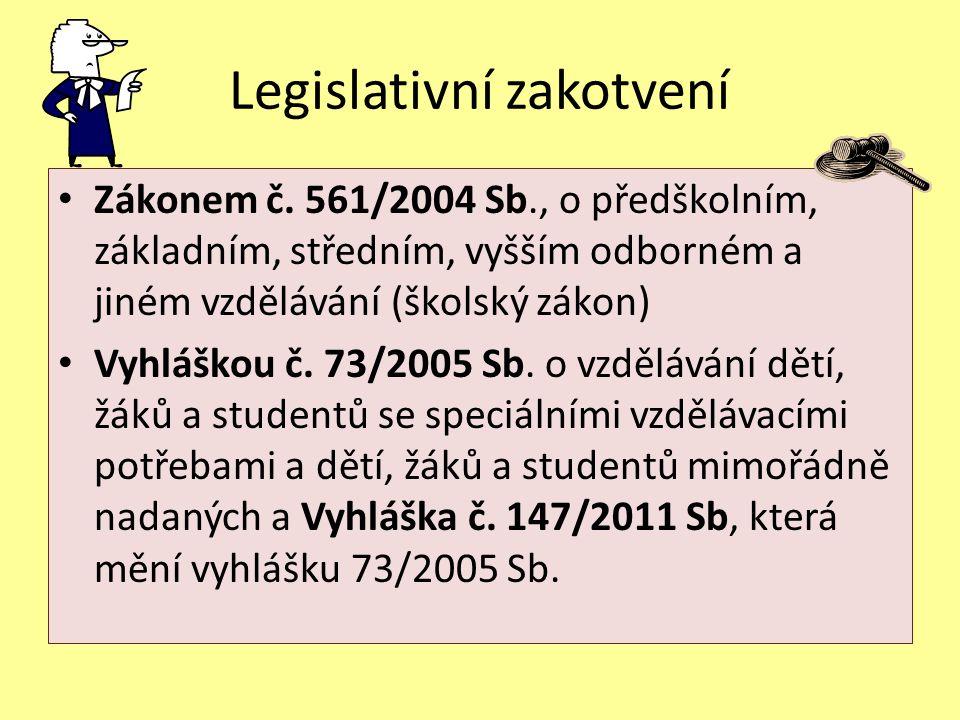 Legislativní zakotvení Zákonem č. 561/2004 Sb., o předškolním, základním, středním, vyšším odborném a jiném vzdělávání (školský zákon) Vyhláškou č. 73