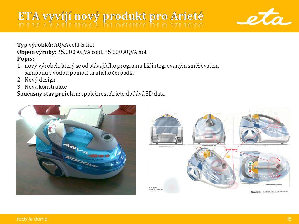 15 Typ výrobků: AQVA cold & hot Objem výroby: 25.000 AQVA cold, 25.000 AQVA hot Popis: 1.nový výrobek, který se od stávajícího programu liší integrovaným směšovačem šamponu s vodou pomocí druhého čerpadla 2.Nový design 3.Nová konstrukce Současný stav projektu: společnost Ariete dodává 3D data