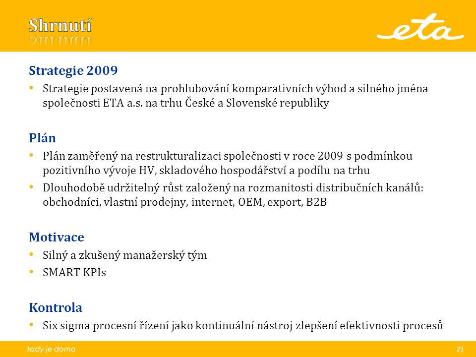 Strategie 2009 Strategie postavená na prohlubování komparativních výhod a silného jména společnosti ETA a.s.