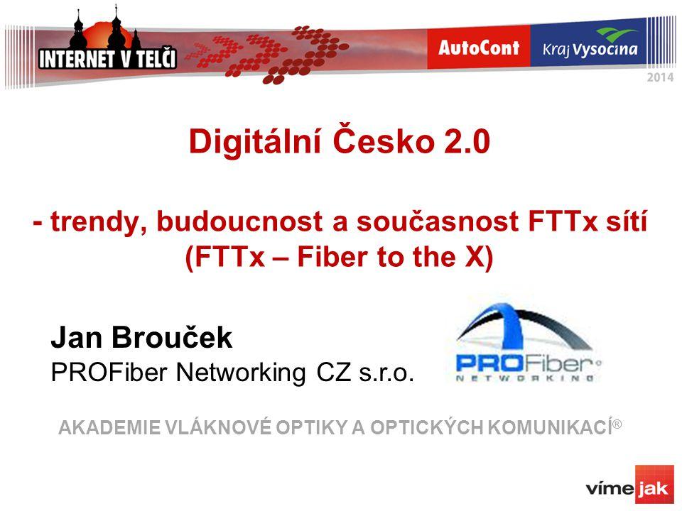 FTTx - náměty a postřehy Stavět FTTx optickou síť (okruh 1 km, do 500 účastníků) Na ní nasadit, co potřebuji Splitter – stavíme PON Switch – stavíme AON Ethernet P2P nebo G-PON/GEPON .