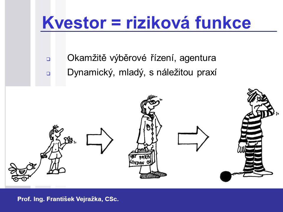 Prof. Ing. František Vejražka, CSc. Kvestor = riziková funkce  Okamžitě výběrové řízení, agentura  Dynamický, mladý, s náležitou praxí