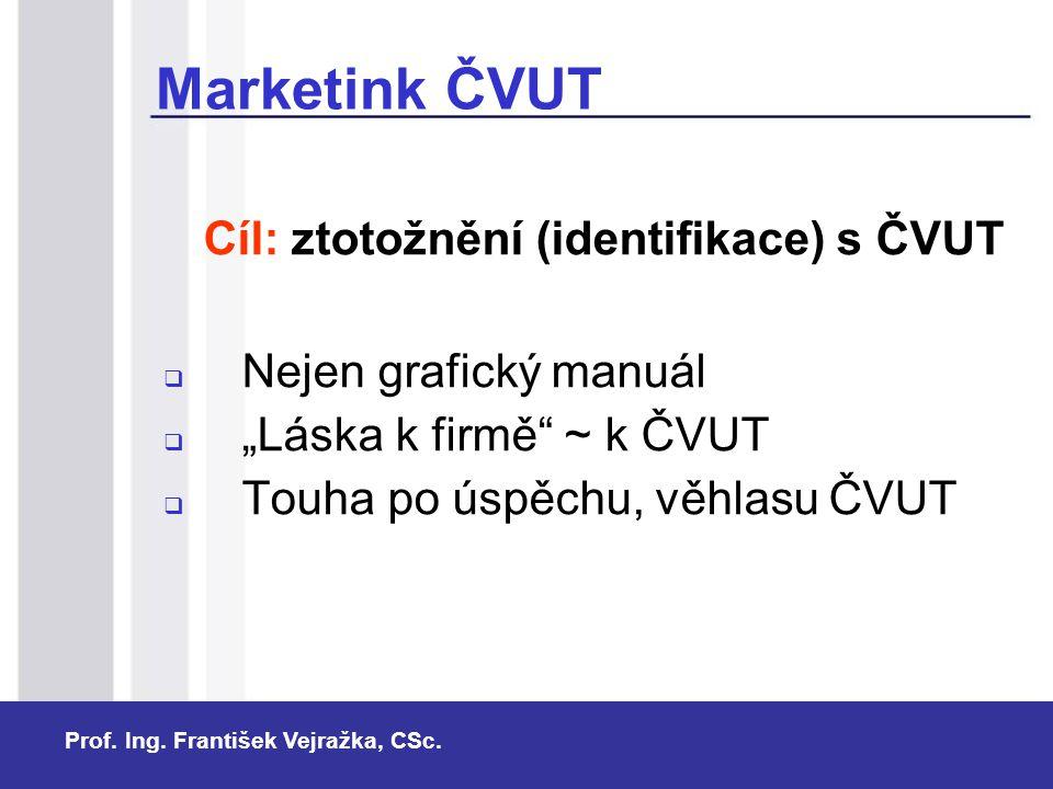 """Prof. Ing. František Vejražka, CSc. Cíl: ztotožnění (identifikace) s ČVUT  Nejen grafický manuál  """"Láska k firmě"""" ~ k ČVUT  Touha po úspěchu, věhla"""