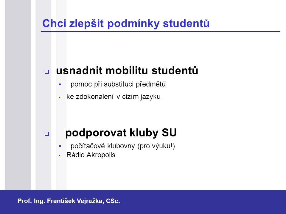 Prof. Ing. František Vejražka, CSc. Chci zlepšit podmínky studentů  usnadnit mobilitu studentů  pomoc při substituci předmětů  ke zdokonalení v ciz