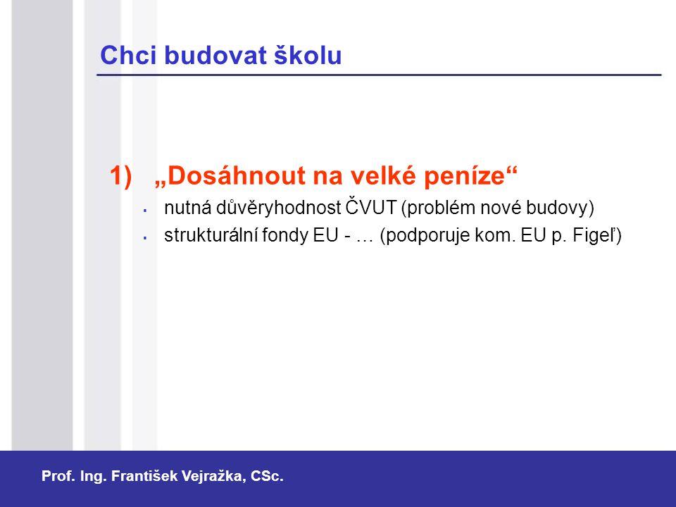 """Prof. Ing. František Vejražka, CSc. Chci budovat školu 1) """"Dosáhnout na velké peníze""""  nutná důvěryhodnost ČVUT (problém nové budovy)  strukturální"""