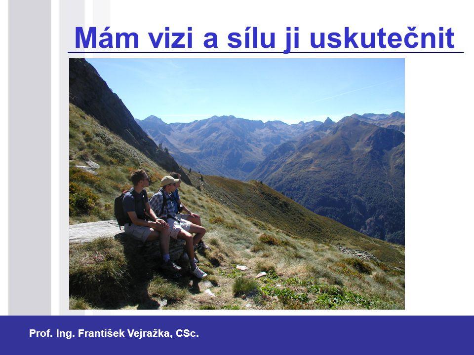 Prof. Ing. František Vejražka, CSc. Mám vizi a sílu ji uskutečnit Předpoklady:  dosavadní výsledky pedagogické odborné manažerské  odolnost a vytrva