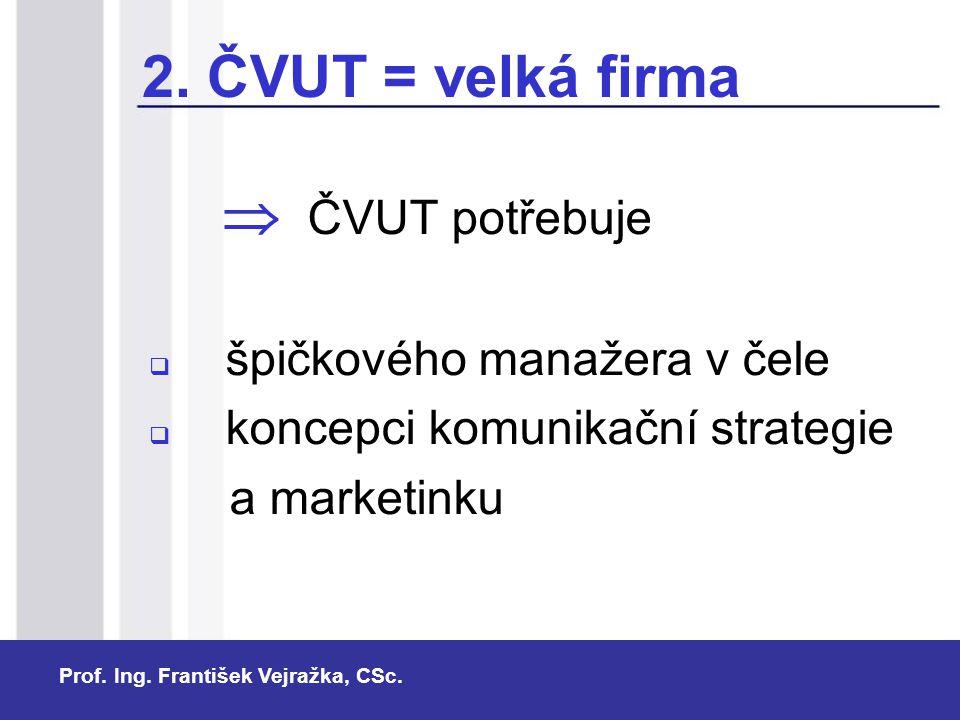 Prof. Ing. František Vejražka, CSc. 2. ČVUT = velká firma  ČVUT potřebuje  špičkového manažera v čele  koncepci komunikační strategie a market