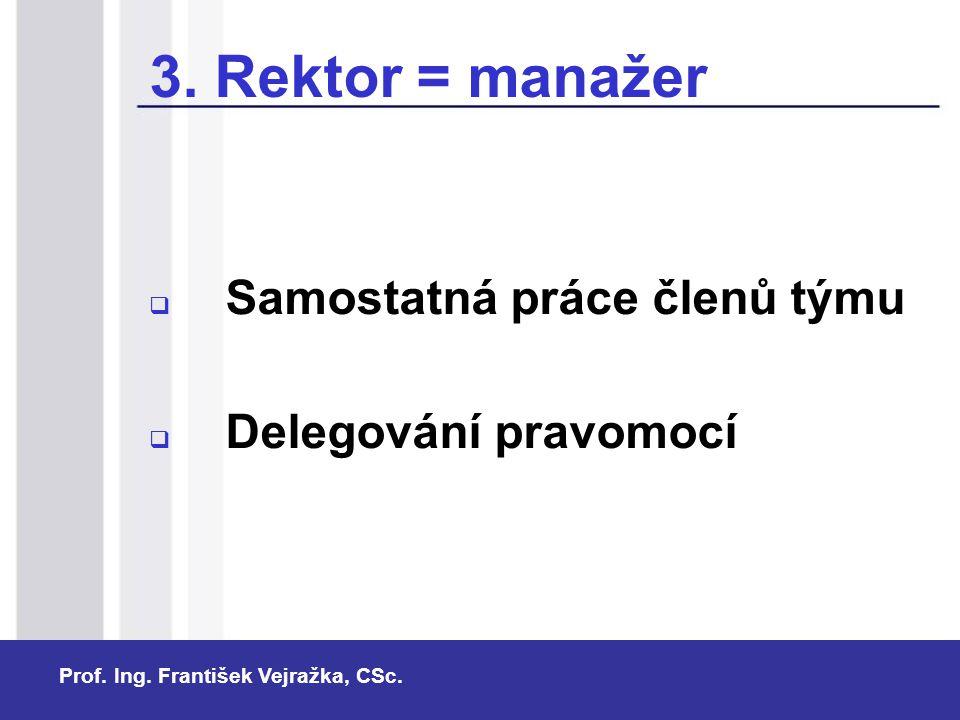 Prof. Ing. František Vejražka, CSc. 3. Rektor = manažer  Samostatná práce členů týmu  Delegování pravomocí