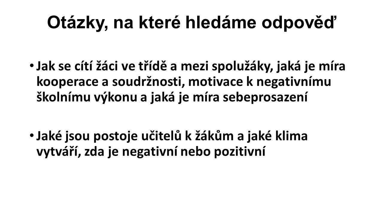 Analýza dotazníkového šetření žáci anonymně vyplní dotazníky K-L-I-T a CCQ odpovědi jsou převedeny na body silně souhlasím - 4 mírně souhlasím - 3 mírně nesouhlasím - 2 silně nesouhlasím - 1 hodnoty jsou vyhodnoceny a porovnány se standardem v českých školách
