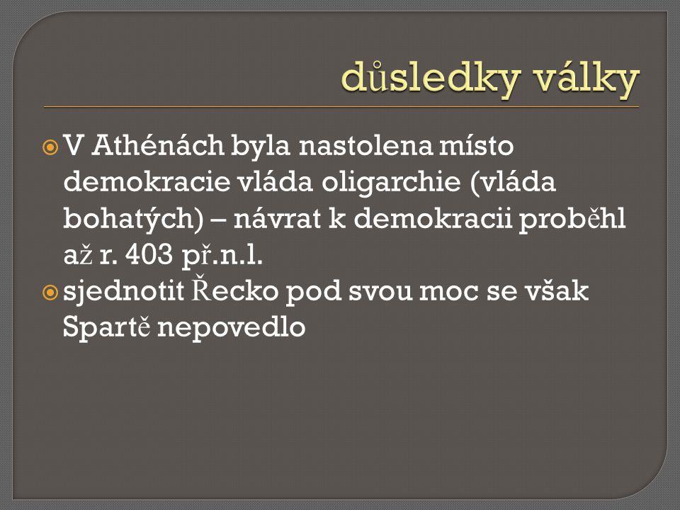  V Athénách byla nastolena místo demokracie vláda oligarchie (vláda bohatých) – návrat k demokracii prob ě hl a ž r. 403 p ř.n.l.  sjednotit Ř ecko