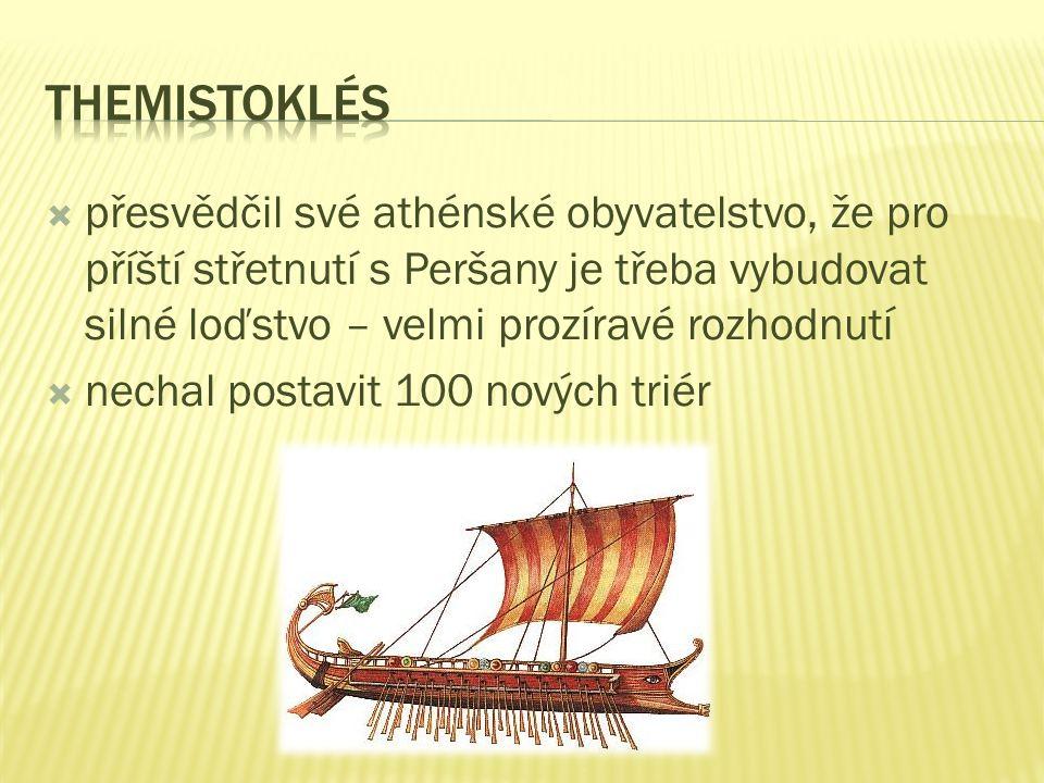  Perské vojsko se vrátilo do Řecka po deseti letech v čele s králem Xerxem  řecké síly se pokusily nepřítele zastavit v soutěsce u Thermopyl – perské přesile se postavil spartský král Leónidás  prohra Řeků byla jasná, proto Leónidás poslal spojence domů a on sám se Sparťany vytrval až do konce  Themistoklés přesvědčil Athéňany opustit své město a uchýlit se na ostrov Salamína  Athény Peršané vypálili